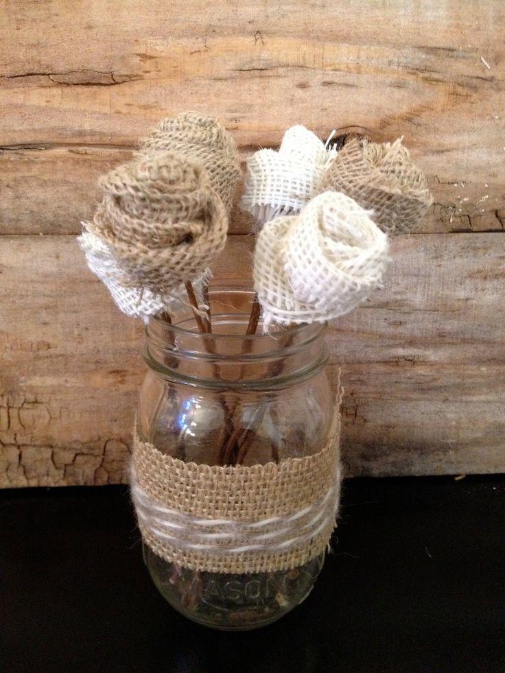 Burlap Flower Mason Jar Centerpiece by PrettyPrettyPieces on Etsy, $20.00