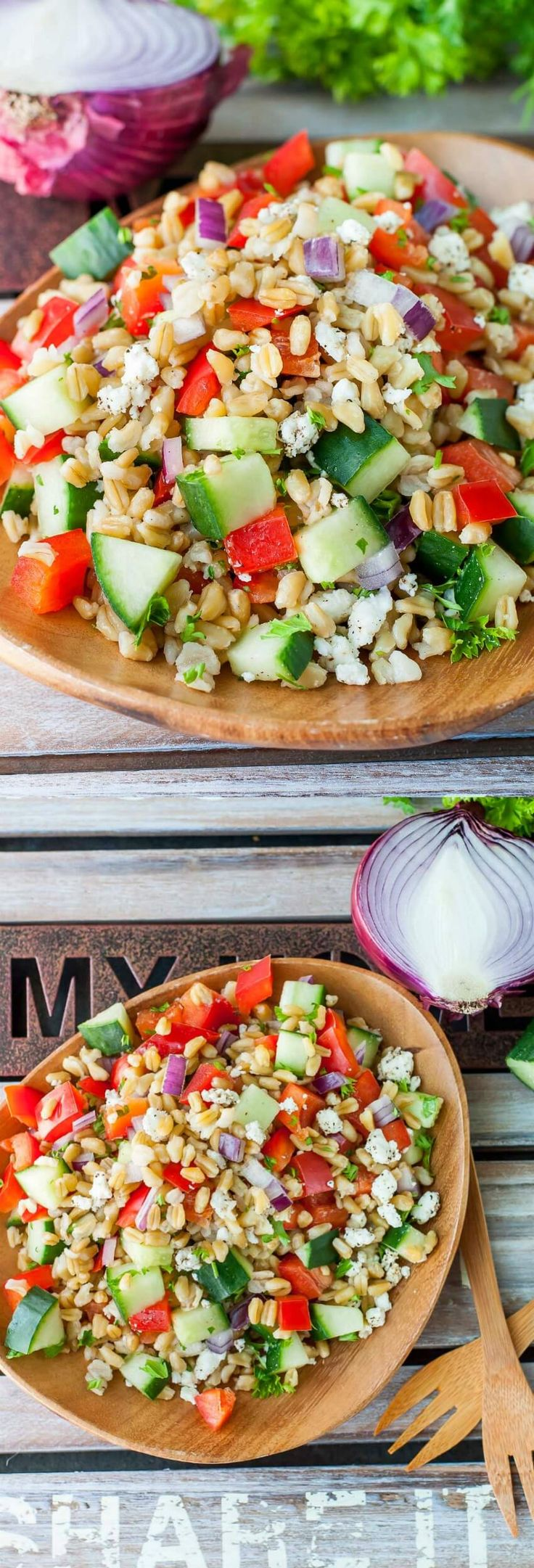 Give a tasty new grain a try with this Healthy Greek Freekeh Salad recipe! This uber easy salad is a total breeze to make and is ready to rock your side dish game with some serious whole grain power.