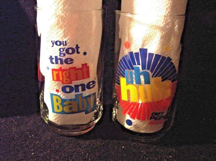 VINTAGE  (9) -  PEPSI UH HUH GLASSES W/ ORIG. ADVERTISEMENT- NEVER USED  #Pepsi