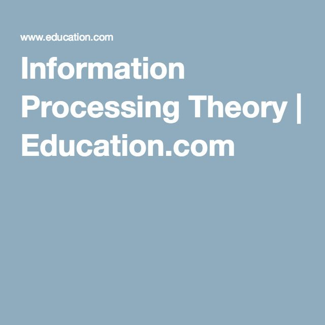 Information Processing Theory | Education.com