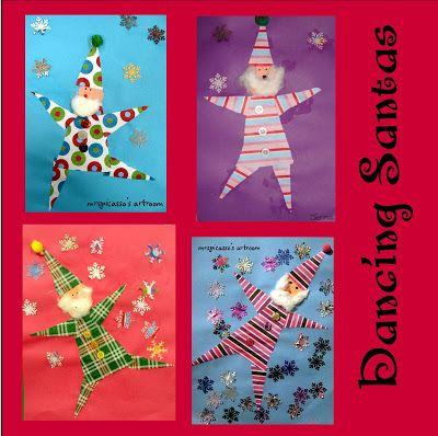Dancing Santas by Mrs. Picasso. Great for lower elementary and up, pattern and directions on the website. Could also be a gnome or a non-Santa elf., and would make cute gift tags made small.
