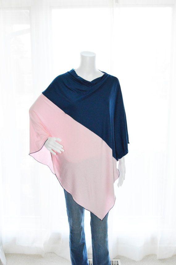 Color block Poncho / Nursing Cover / Nursing Shawl by JessMDesigns