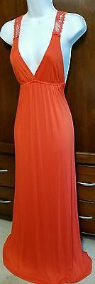 Twenty One Womens MEDIUM Orange Empire Waist Jersey Maxi Dress Crochet Back NWOT