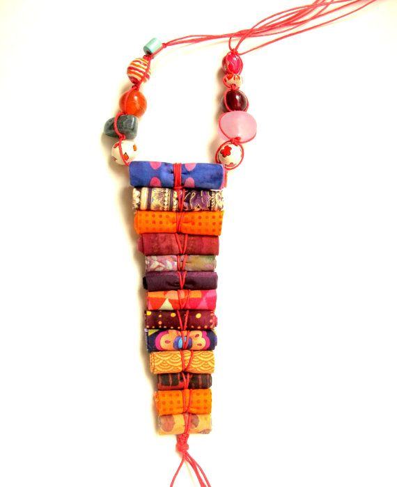 Artistic gift for her artistic fiber necklace for her by Gilgulim