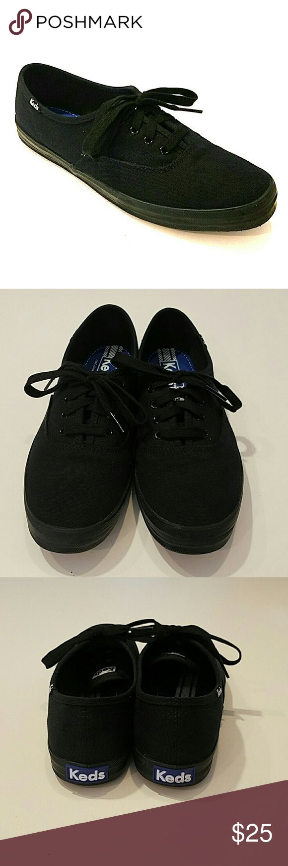 Keds Champion Originals Black/Black Newly purchased in November of 2016 and only worn 4 times. Absolutely nothing wrong with them, just uncomfortable for my slightly wide set feet and unfortunately have to let them go :( No box included, but I promise they are clean! $25 OR best offer. Keds Shoes Sneakers
