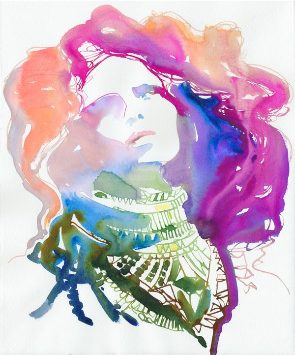 By Cate Parr. A fashion illustrator born and educated in England. Love her feminine aquarel colours.