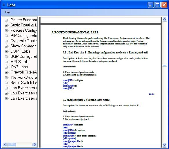 CertExams.com Updates Juniper JUNOS NetSim to Include NAT, Firewall, and IPv6.    The newly included command hierarchies include the following: 1. Edit NAT hierarchy level 2. Edit firewall hierarchy level  3. Edit policy-options hierarchy level    For more info, visit: http://routersimulator.certexams.com/juniper-sim/index.html