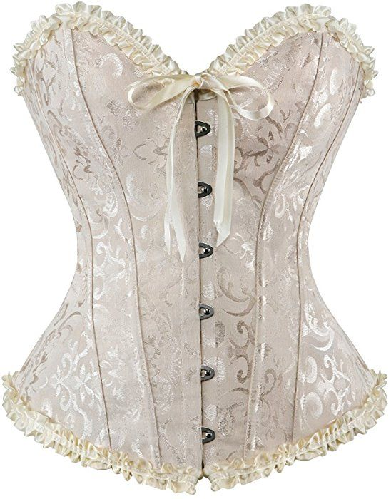 a9daed096 Frawirshau Women s Lace Up Boned Overbust Corset Bustier Bodyshaper Top  White M at Amazon Women s Clothing store