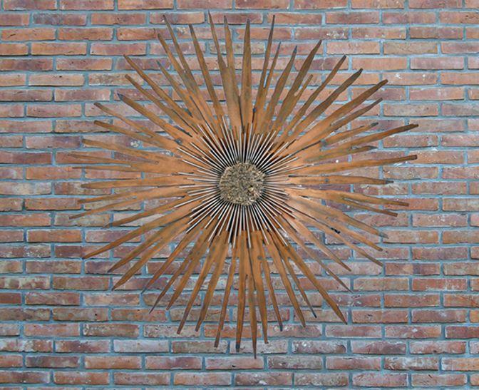 Nice Outdoor: Gorgeous Metal Sunbirst Outdoor Wall Art Brick Wall .