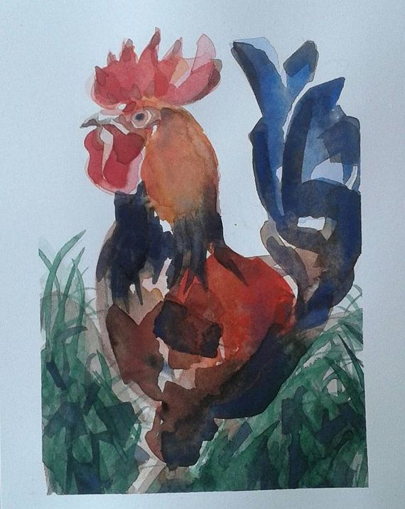 Rooster  watercolour painting by Vicky Curtin by MyCoveArt on Etsy