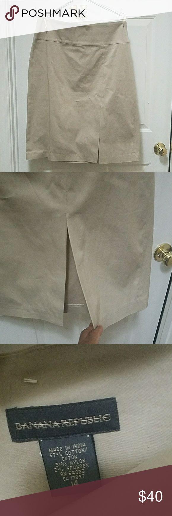 Khaki Pencil Skirt Khaki Pencil Skirt with front slit and back zip. Banana Republic Skirts Midi