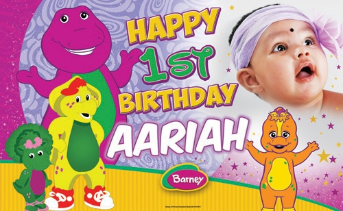 Barney and Friends Themed Birthday Banner. International Orders - $85.00 USD (Design Only). Email info@chameleonmedia-solutions.com