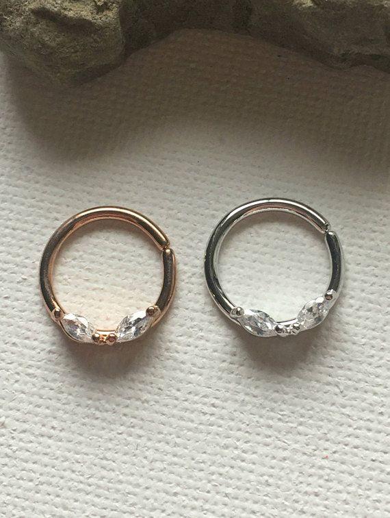 Bendable Septum Ring, Crystal Septum Ring, Septum Ring, Surgical Steel Septum, Rose Gold Septum Ring, Silver Septum Ring, Septum 16g