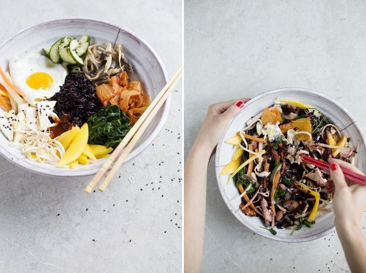 Bibimbap with tofu and pickled vegetables