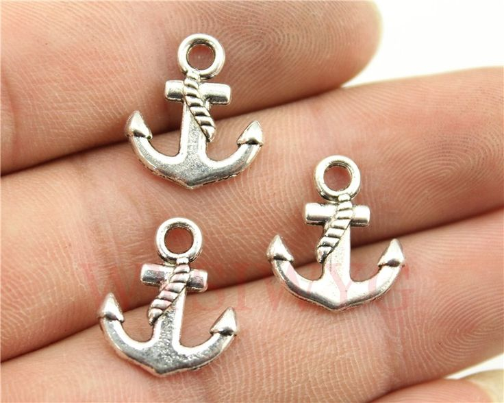 WYSIWYG 15pcs/lot 17*15mm antique silver plated anchor charms