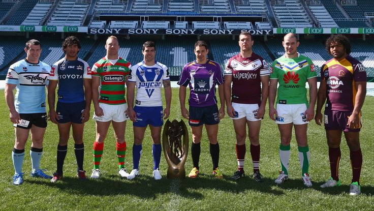 Paul Gallen of the Sharks, Johnathan Thurston of the Cowboys, Michael Crocker of the Rabbitohs, Michael Ennis of the Bulldogs, Billy Slater of the Storm, Jason King of the Sea Eagles, Terry Campese of the Raiders and Sam Thaiday of the Broncos pose with the NRL premiership trophy during the 2012 NRL finals series launch at Allianz Stadium on September 3, 2012 in Sydney, Australia.