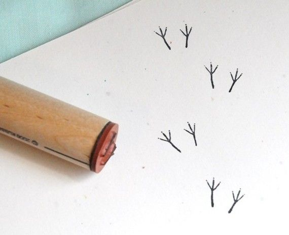 Tiny bird print stamp. Just for making things more fun. $3.50
