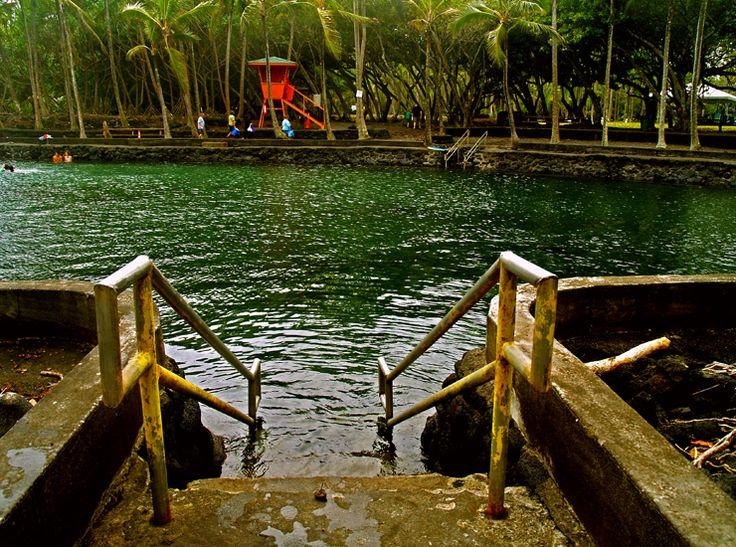 Ahulani Hot Pond's Water is Heated Volcanically to a Balmy 90 Degrees, Puna, Big Island, Hawaii