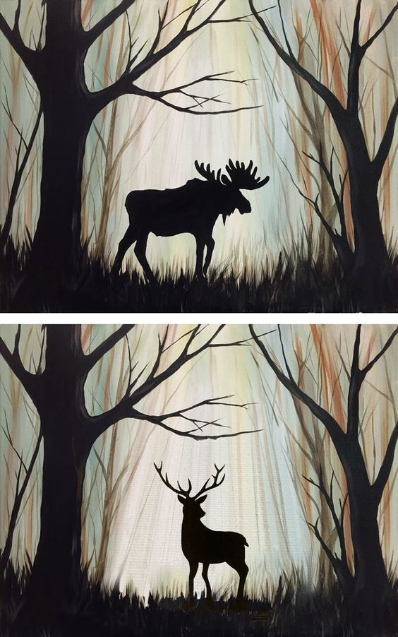 Nature.  Paint a background.  Then choose cut-out silhouettes to paint over it