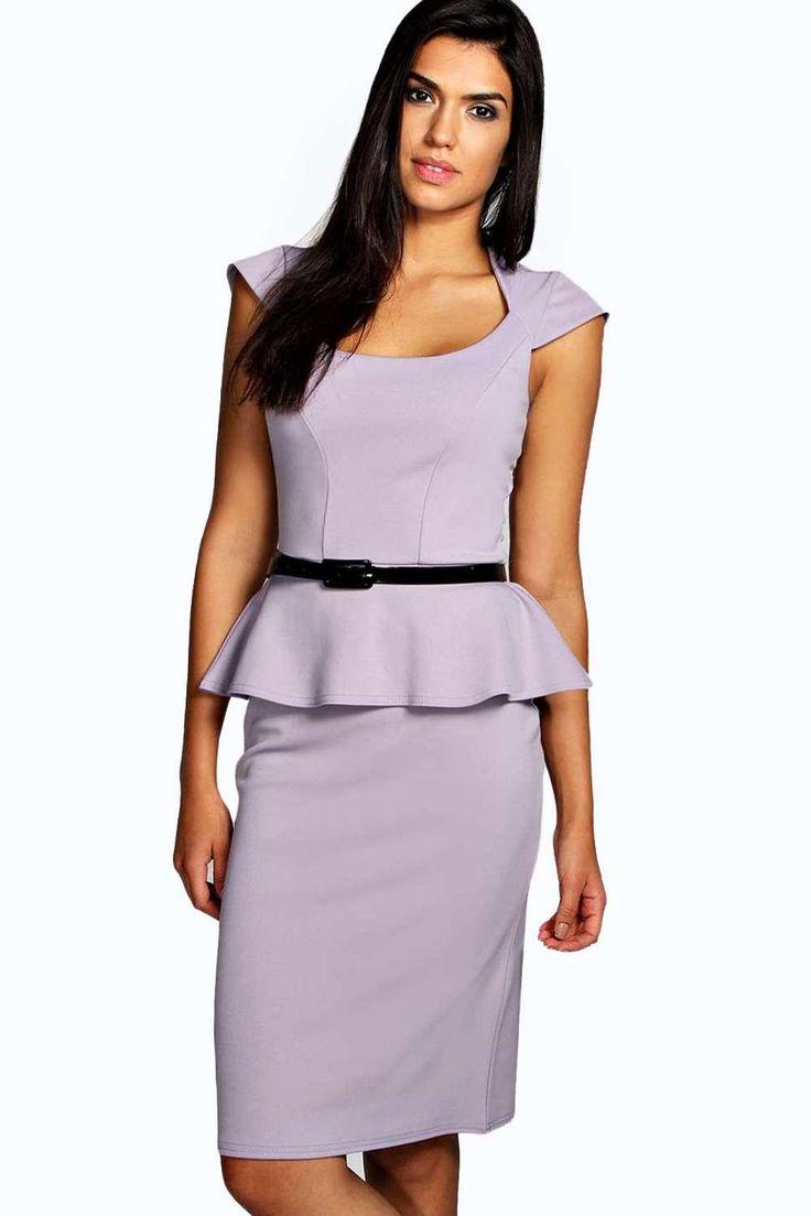 Keeley Peplum Belted Midi Dress