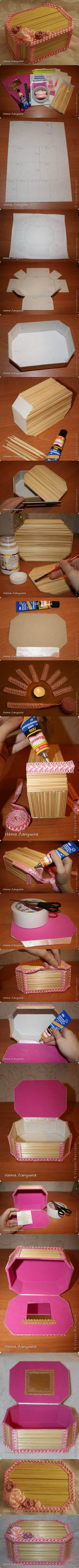 Caja con palillos!   Manualidades Gratis