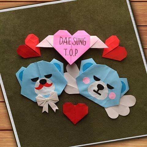 折り紙でタプテソ(∩˃o˂∩)♡ 梅雨はおうちで地味〜に遊ぶ☔ 物作りって楽しすぎ✨ #折り紙#origami #タプテソ#テソン #タプさん#dlite#top#ビッグバン#bigbang#クランク#krunk
