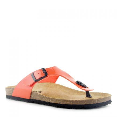 Tong femme Plakton Bolero Orange, en synthétique laqué, à talon de 3 cm.Semelle agréable en cuir végétal bio,entre doigts à l'avant du pied et fermeture réglable à la cheville par une boucle.
