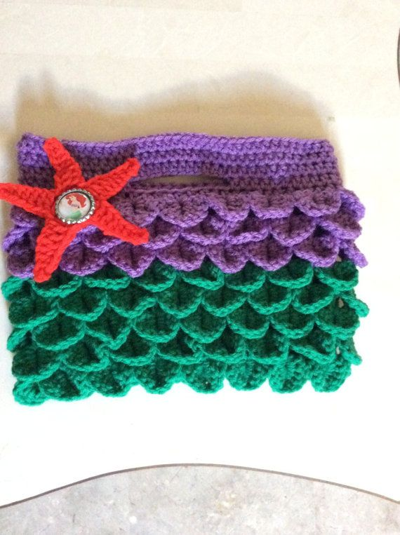 Crochet Little Mermaid inspired purse  by Craftyanascretions