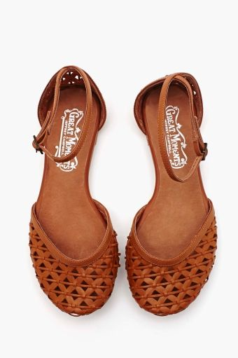 Woven ankle strap flats