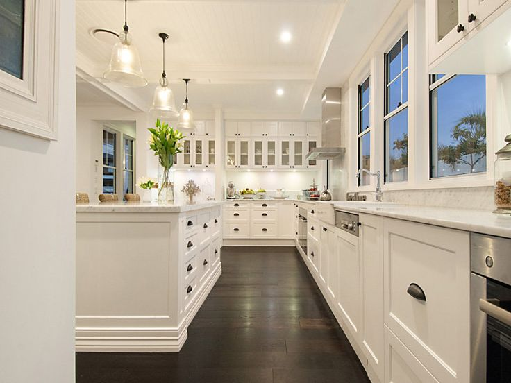 Dark wooden floors in kitchen