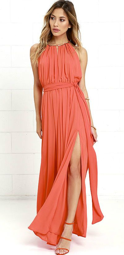 Coral maxi dress   Perfect summer wedding guest dress #weddingattire wedding guest dresses