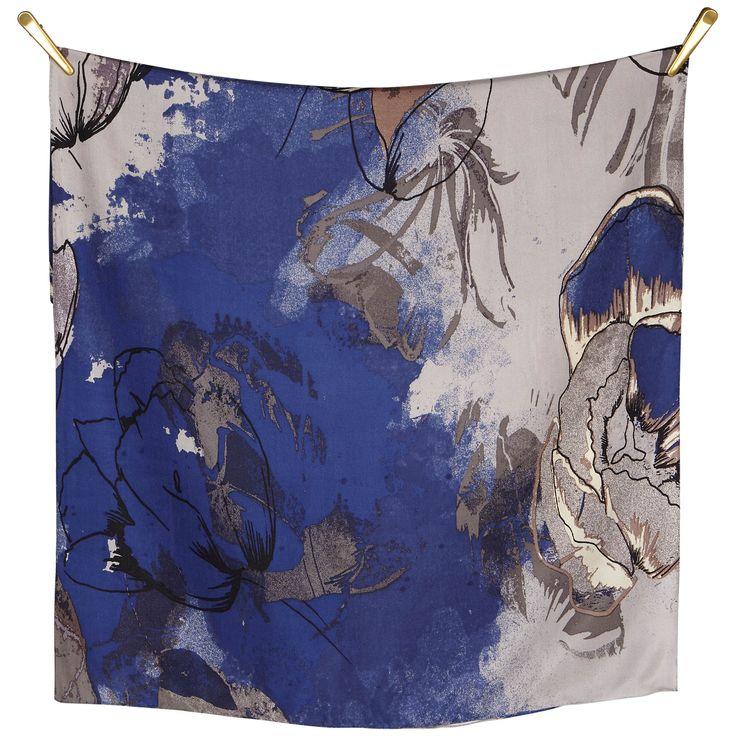 FLOWER ME SOFTLY silk scarf | Grey/Black/Blue size 70x190cm, in 100% Silk Twill with rolled hand stitched edge aw16 luxury #blue #art