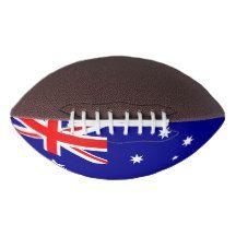 Patriotic american football with flag of Australia