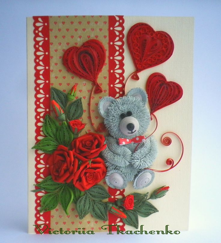 St. Valentine quilling card - Love quilling card - Quilling Greeting card - Perfect gift - Cute bear