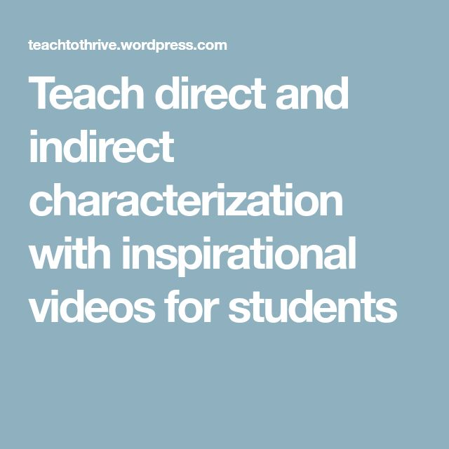 Teach direct and indirect characterization with inspirational videos for students