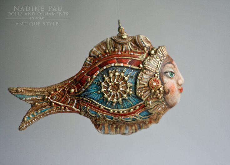 """ Marfusha fish"" by Nadine Pau. Christmas ornaments. Papier mache, oil patina varnish. Sold #christmasornaments #nadinepau"