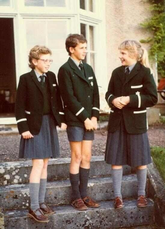 Vintage photo of traditional British school uniforms