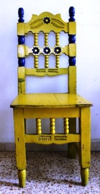 mexican interior design ideas - brightly painted rustic chair