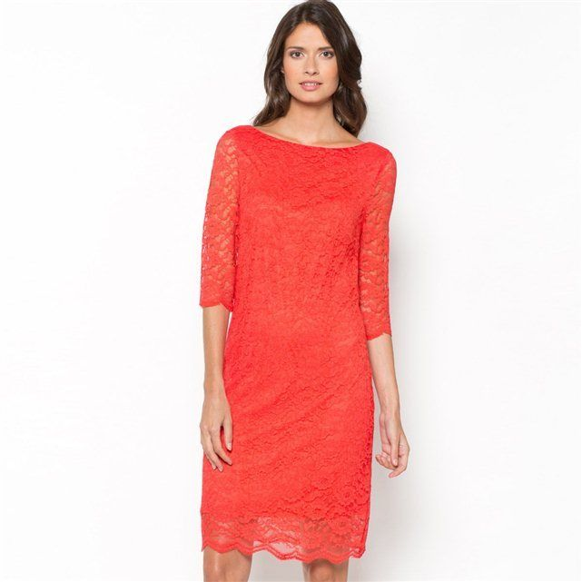 La Redoute PRIX MINI Lace Dress with 3/4 Sleeves and Slash Neck, Lined on shopstyle.co.uk