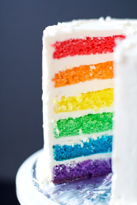 """Rainbow Cake with White Chocolate Buttercream  This recipe is a bit uneven. I used 6"""" pans, and the layers were too thick and and I had way too much frosting. I think it'd be better suited to a 7"""" or even 8"""" cake, so adjust as necessary depending on the size of your cake pans."""