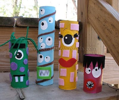 cardboard tube monsters (library craft idea)