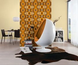AS Creation Retro Line behang 95528-1 van 39.95 voor 24,95 per rol Seventies jaren 70 retro behang 10 meter lang 53 cm breed vlies behang  patroon 64 cm  kleur oranje bruin  nieuw collektie