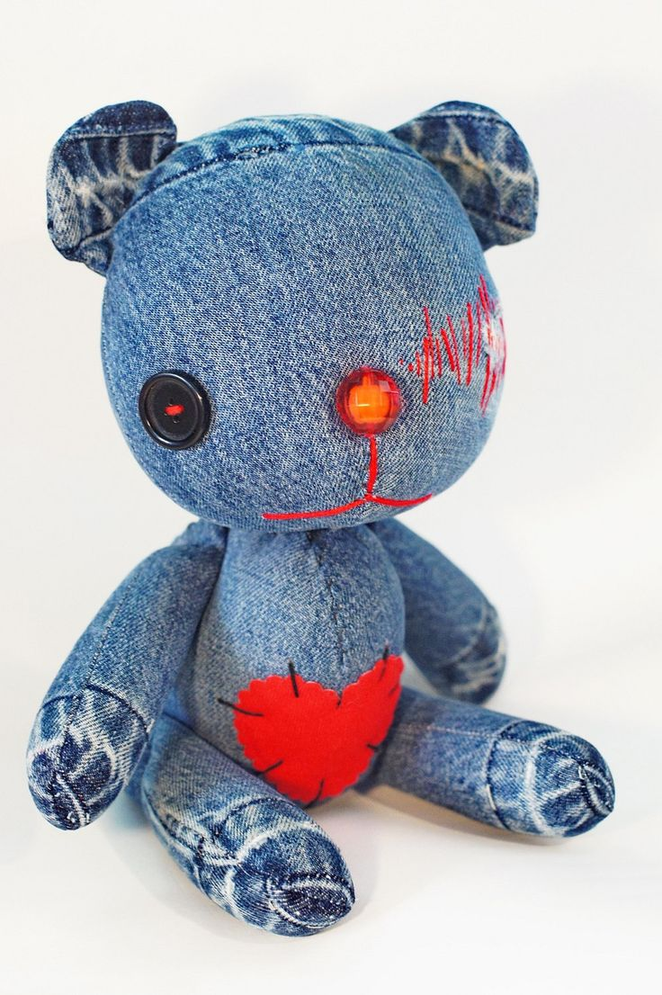 Collectible- handmade bear vintage from old denim design .h 13 inch .Weighs 500 g .. ฿2,200.00, via Etsy.