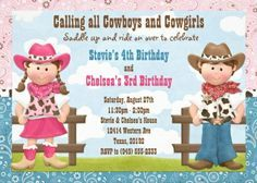 Eventful Cards - Cowboy and Cowgirl Joint Sibling Birthday Party Invitation (http://www.eventfulcards.com/cowboy-and-cowgirl-joint-sibling-birthday-party-invitation/)