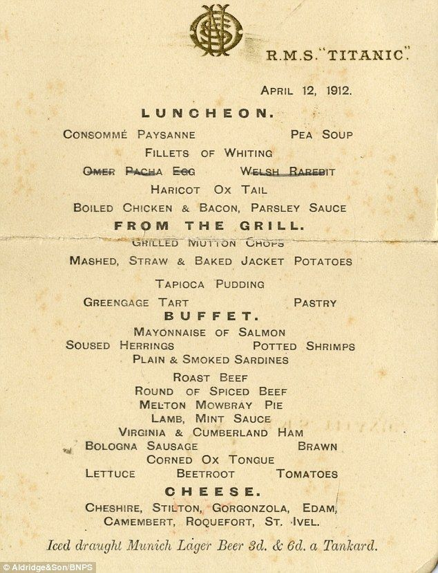 A lunch menu for the first-class restaurant on board Titanic is also up for sale at an auction this afternoon, 19 October 2014.