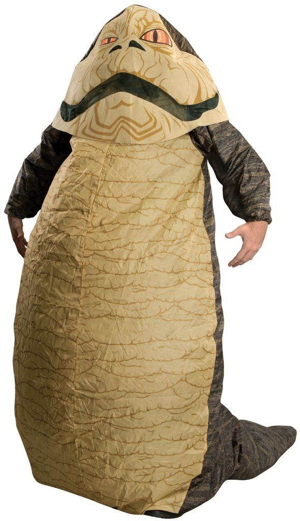 Jabba The Hutt Inflatable Adult CostumeIncludes: Headpiece, Body Suit with Tail, and Fan. 4-AA batteries are required (NOT INCLUDED).Occasion: HalloweenGender: MaleAge Group: AdultColor: GreenSize: St