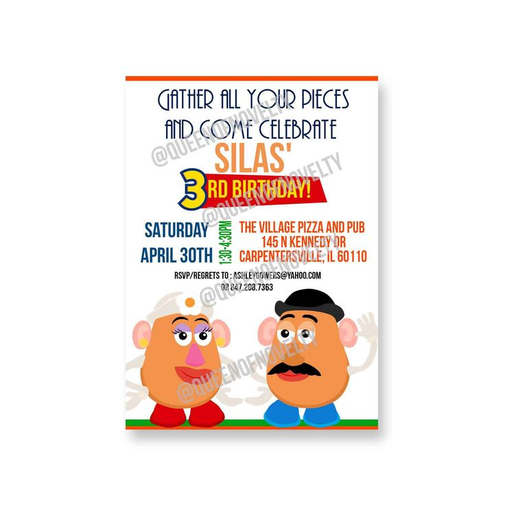 mr potato head Birthday Invitation - 1st Birthday Toys - mr potato head Birthday Party - mr potato head Invitation by queenofnovelty on Etsy