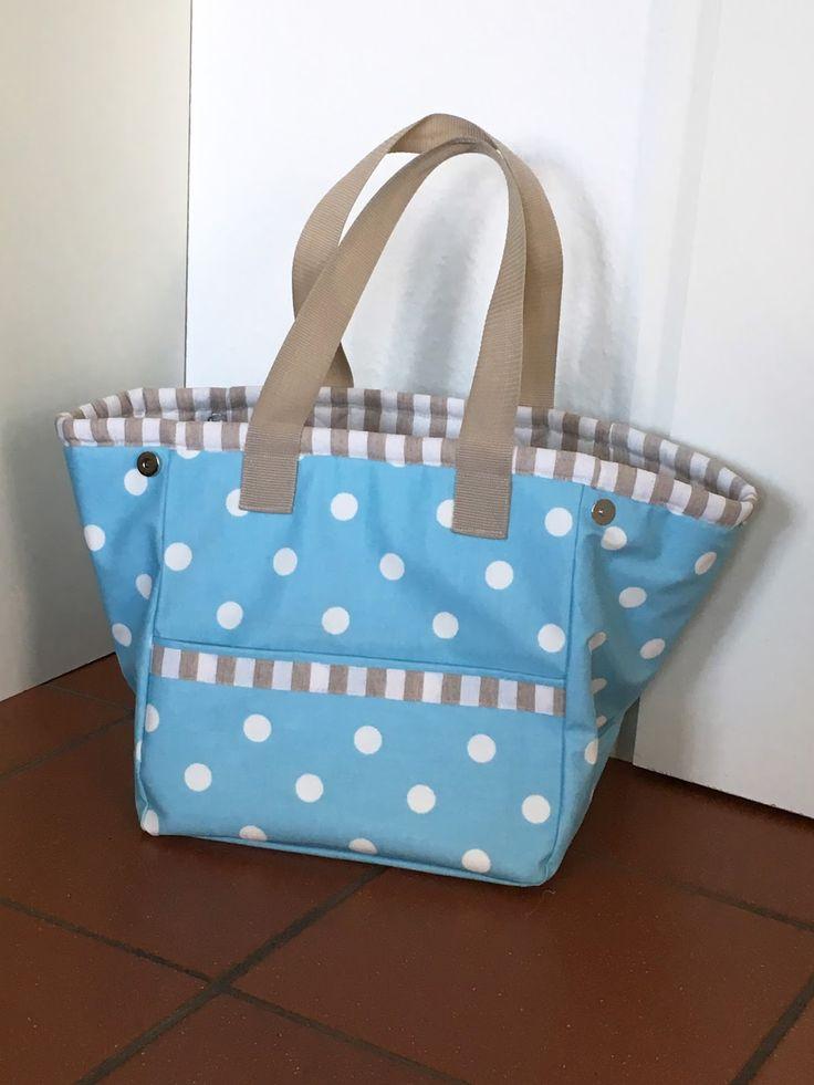 beachbag in danish oilcloth - pattern for sewing in oilcloth or fabric Schnittmuster Strandtasche, größenverstellbar, mit aushakbarem Wertsachenfach und Nassfach für Badezeug