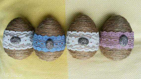 Vintage Jute Easter Eggs by MJRDecor on Etsy
