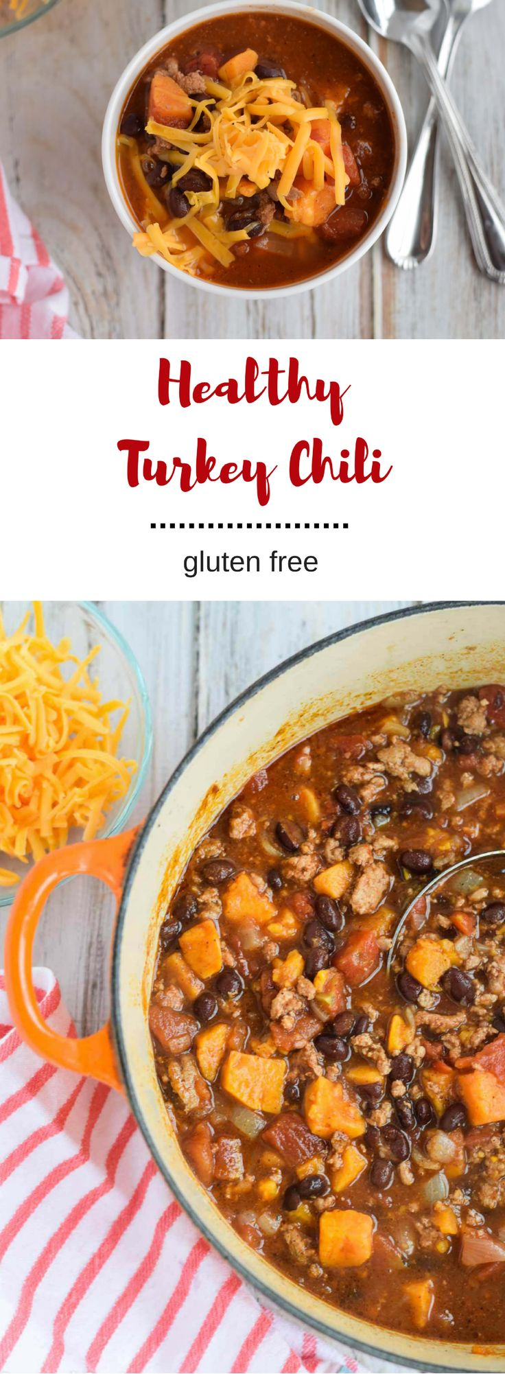 This gluten-free Healthy Turkey Chili is easy enough to prepare on a busy weeknight.  It is flavorful and healthy, full of black beans, sweet potatoes, and ground turkey.